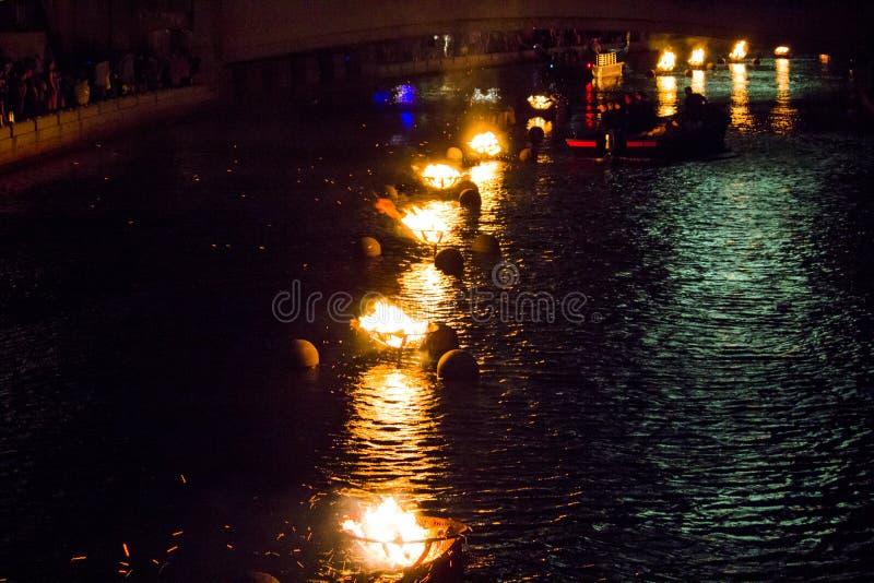 WaterFire火焰,上帝,罗德岛州 免版税库存图片