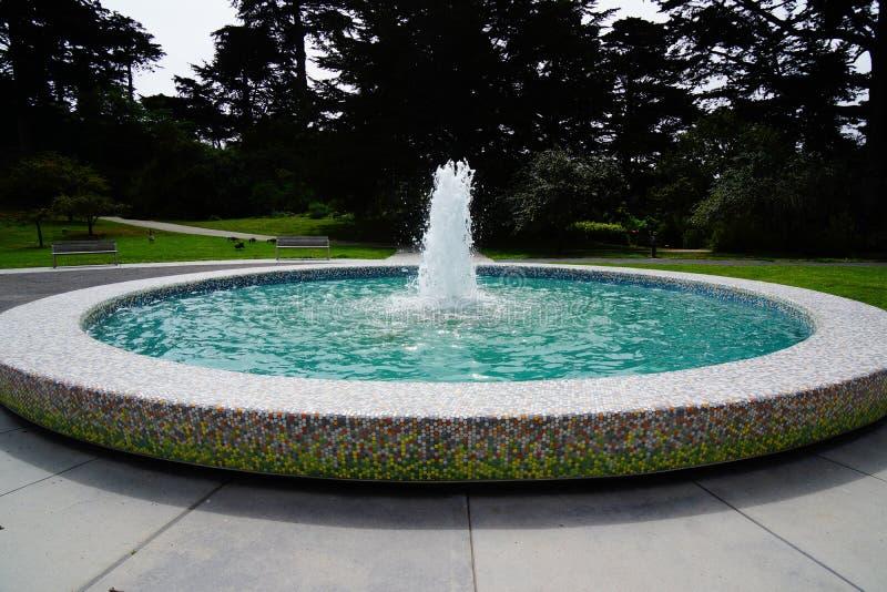 Waterfontein in botanische tuin San Francisco stock fotografie