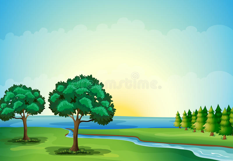 A waterform in the forest royalty free illustration