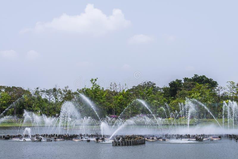 Waterfountain in pond in garden, bangkok, thailand. Fountain in pond in garden, bangkok, thailand stock photos