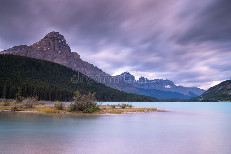 Waterfowl Lake, Banff National Park, Icefield Parkway, Alberta, Canada. Panoramic image of the Waterfowl Lakes at sunrise, Banff National Park, Icefield Parkway royalty free stock image