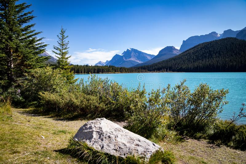 Looking South at Waterfowl Lake, glacier fed lake in the Canadian Rockies - off the Icefield Parkway, Canada stock photos