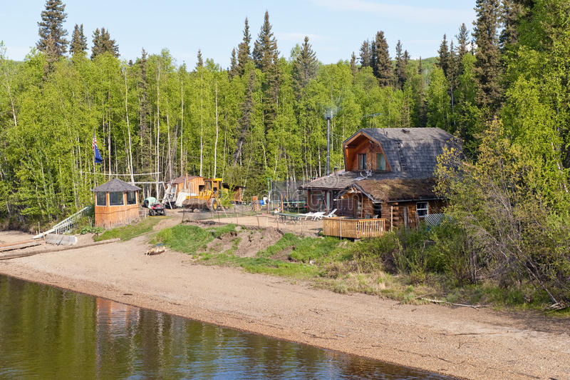 Waterfront Alaskan home stock images