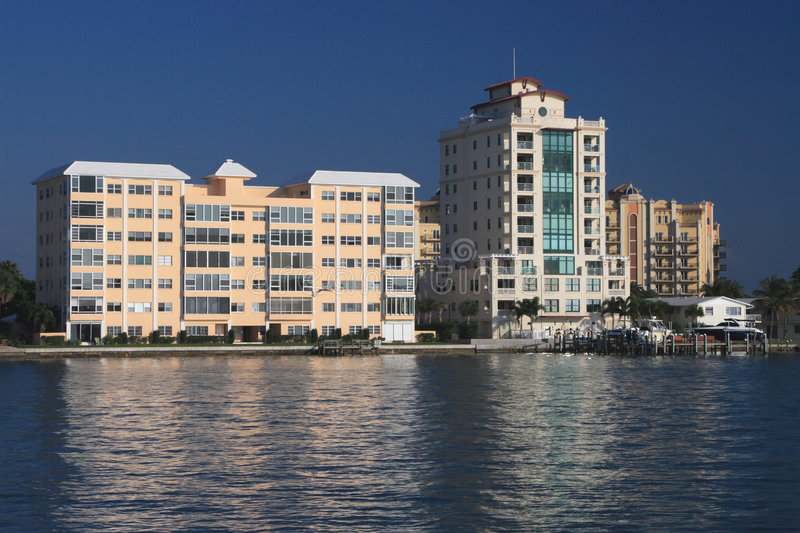 Waterfront Apartment Buildings stock photos