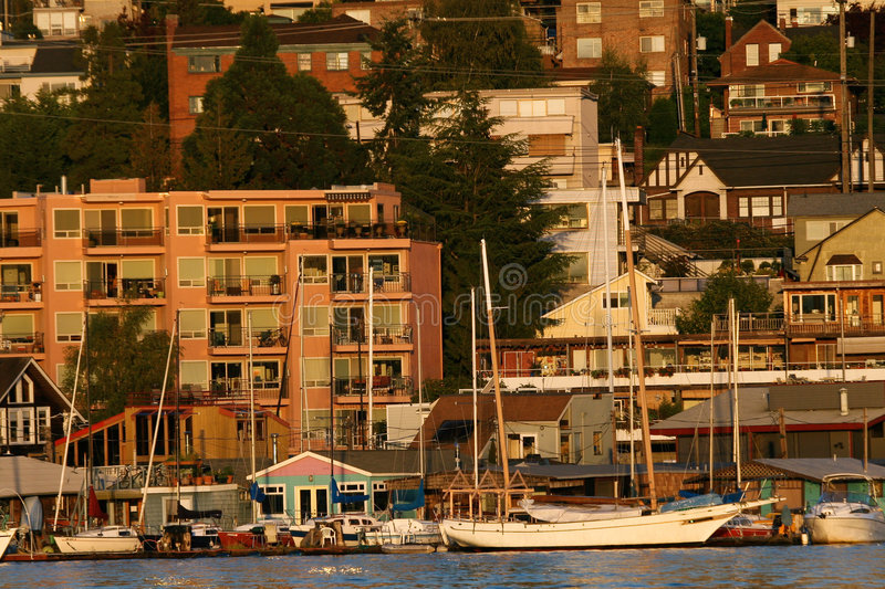 Waterfront apartment buildings in Seattle royalty free stock images