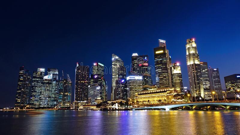 Waterfront architecture at night stock image