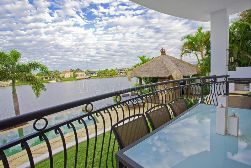 Waterfront balcony entertainment area stock photo