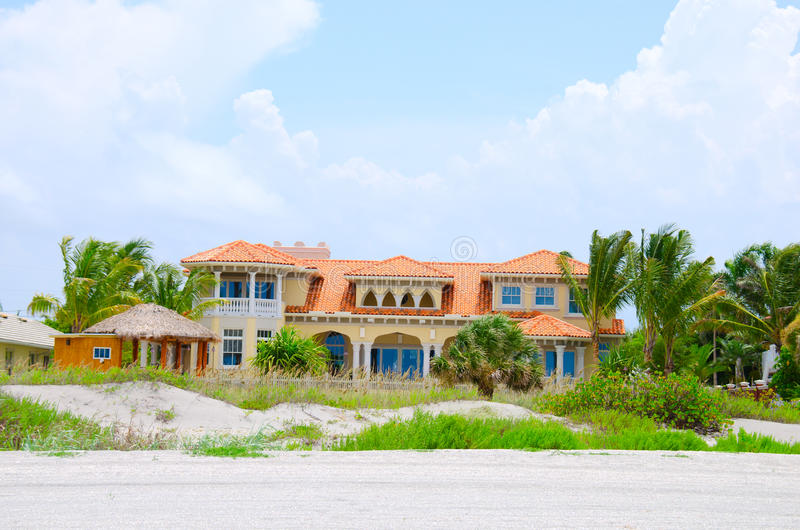 Waterfront beach mansion house in Florida royalty free stock images