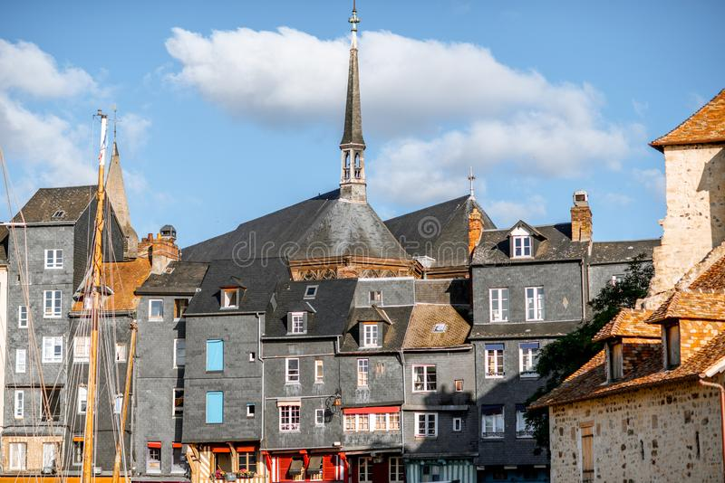 Waterfront in Honfleur town, France stock images
