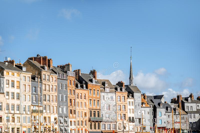 Waterfront in Honfleur town, France royalty free stock photography