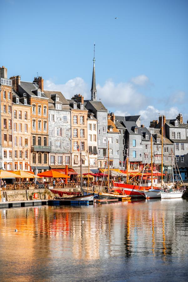 Waterfront in Honfleur town, France stock photography