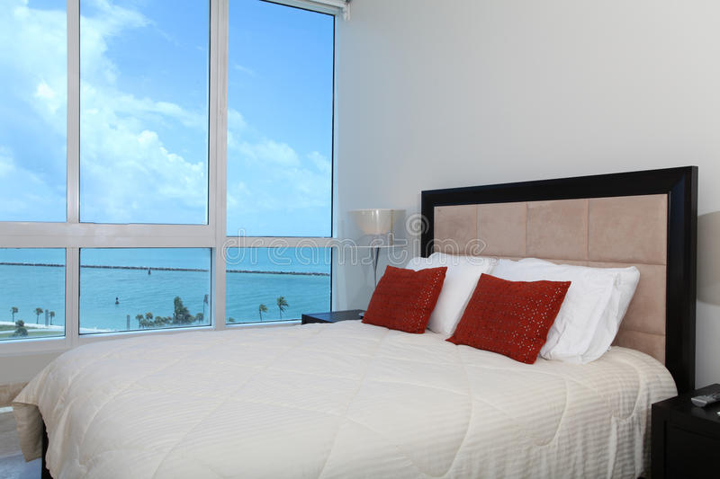 Waterfront Bedroom royalty free stock photo