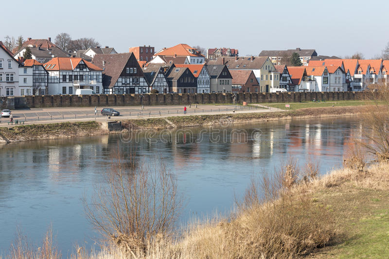 Waterfront buildings minden germany. Some waterfront buildings minden germany stock images