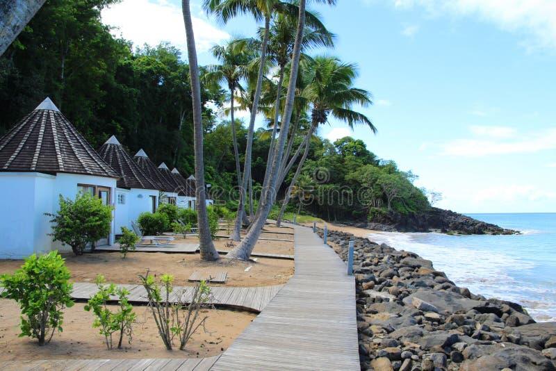 Waterfront bungalows, Guadeloupe stock photo