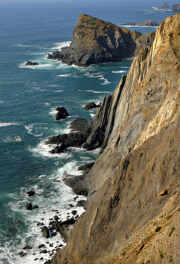 Waterfront. Coastal cliff at the south of portugal royalty free stock image