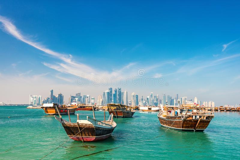 Waterfront in Doha royalty free stock image