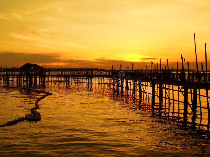 Waterfront Fishing Village royalty free stock images