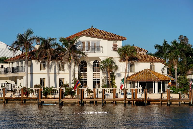Waterfront Home stock images