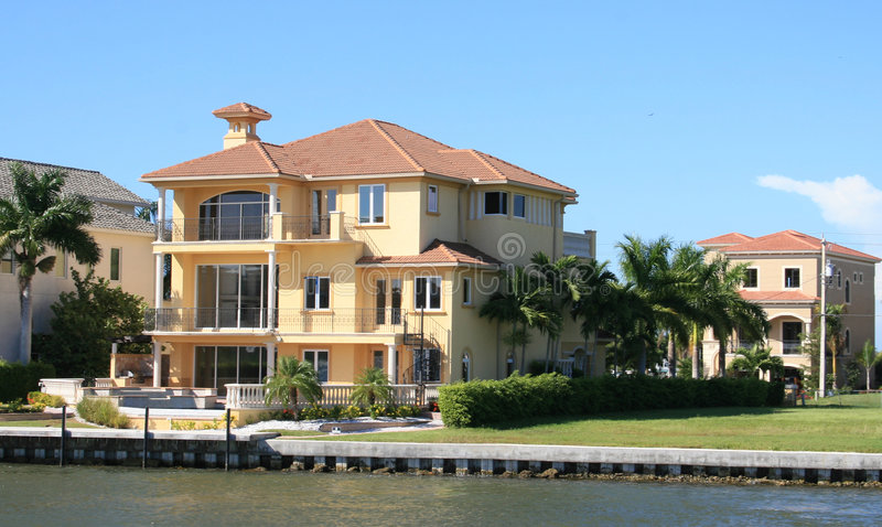 Waterfront Home. Luxurious waterfront homes in Florida royalty free stock photo