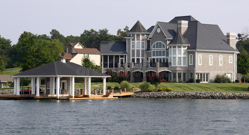 Download Waterfront Home With Boathouse Stock Photo - Image: 12850588