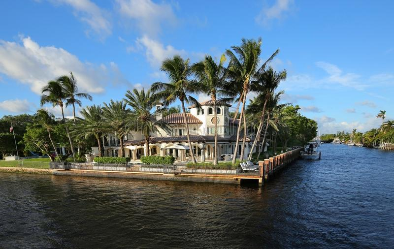 Waterfront home in Fort Lauderdale royalty free stock image