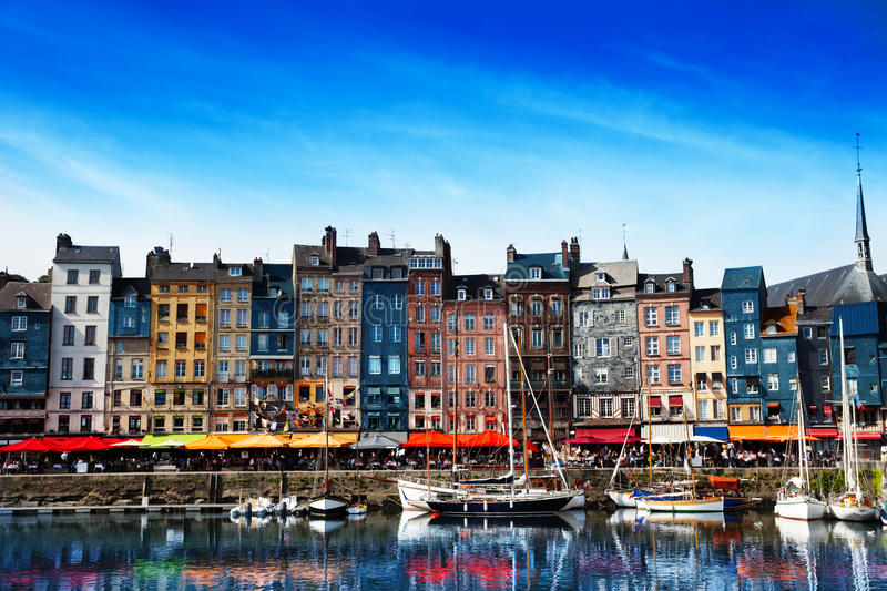 Waterfront of Honfleur harbor in Normandy, France royalty free stock images