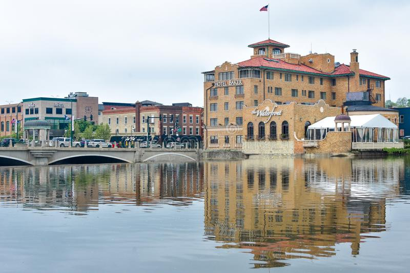 The Waterfront at Hotel Baker in Saint Charles, IL stock images