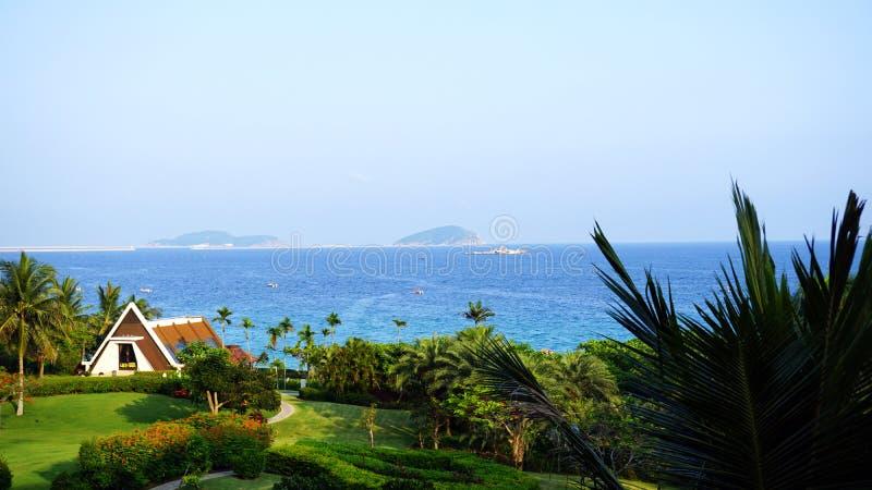 Waterfront hotels and villas in Sanya, China stock photography