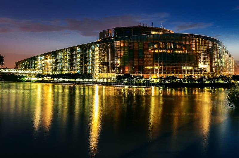 Waterfront illuminated at night, Strasbourg, Austria royalty free stock photo