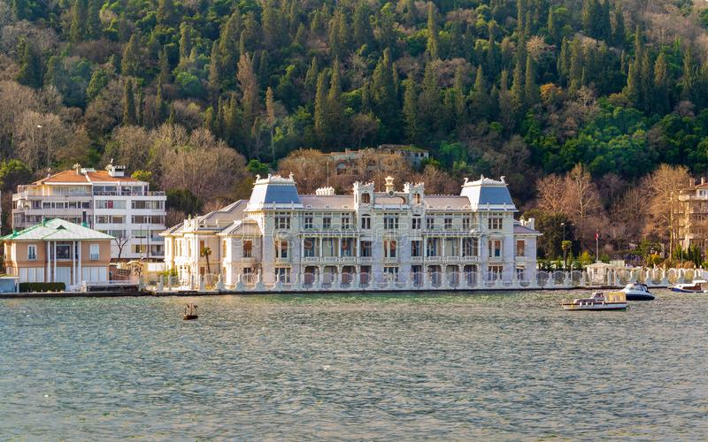 Waterfront Khediwes Palace, former residence of Egyptian Khedive Abbas II, Bebek, Istanbul, Turkey. Waterfront Khediwes Palace -Hidiv Sarayi- historical building stock photo