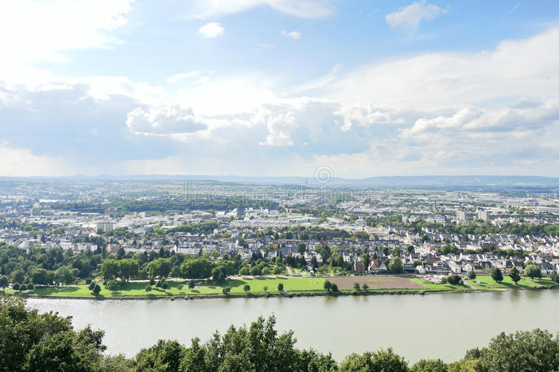 Waterfront of Koblenz town, Germany stock photography