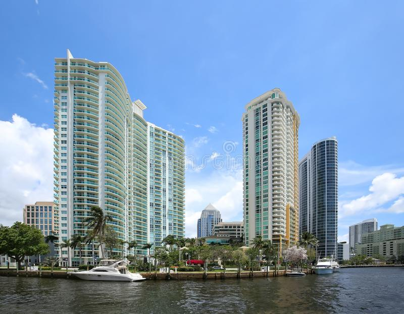 Waterfront living in downtown Fort Lauderdale, Florida. stock image