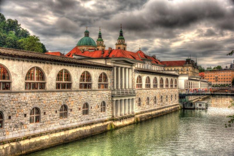 Waterfront in Ljubljana, Slovenia. Waterfront in Ljubljana in Slovenia royalty free stock photo