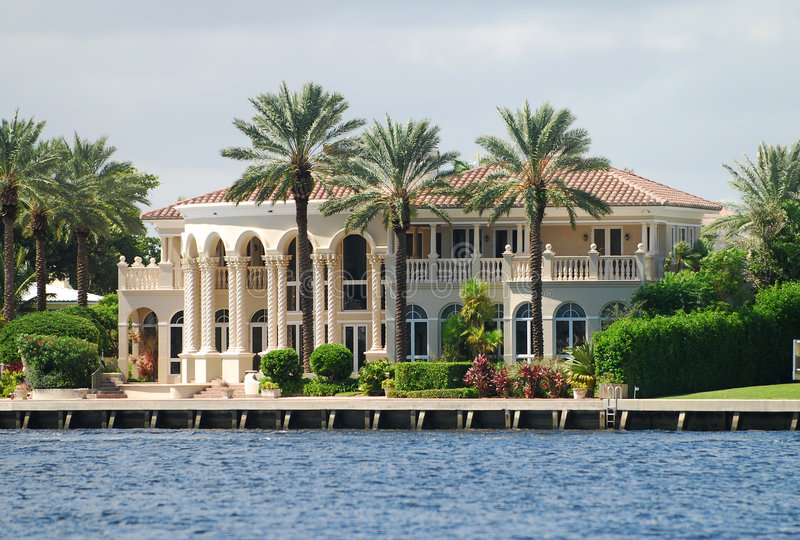 Waterfront mansion royalty free stock photo