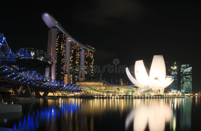 Waterfront at marina bay singapore. Waterfront at marina bay with Helix bridge, singapore royalty free stock photography