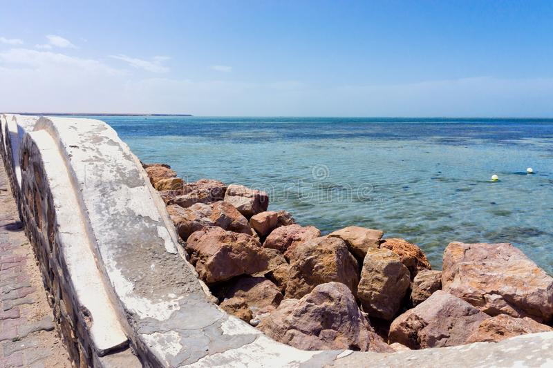 Waterfront of the Mediterrenean sea on the Djerba Coast in Tunisia. Waterfront view of the Mediterrenean Sea on the Djerba Coast in Tunisia royalty free stock photography