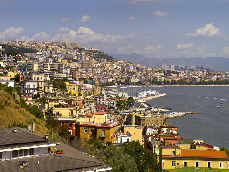 Waterfront of Naples Italy. Scene of the port of Naples in Southern Italy royalty free stock image