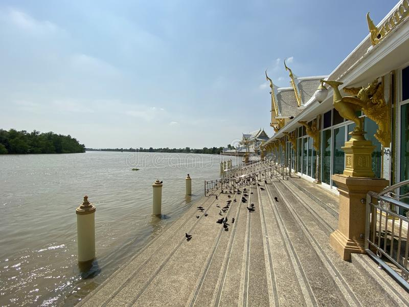 Waterfront near Bangprakong river at Chachoengsao Thailand. Close up waterfront near Bangprakong river at Chachoengsao Thailand stock image