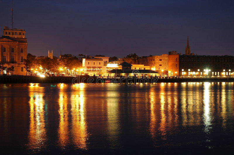 Waterfront at Night royalty free stock images