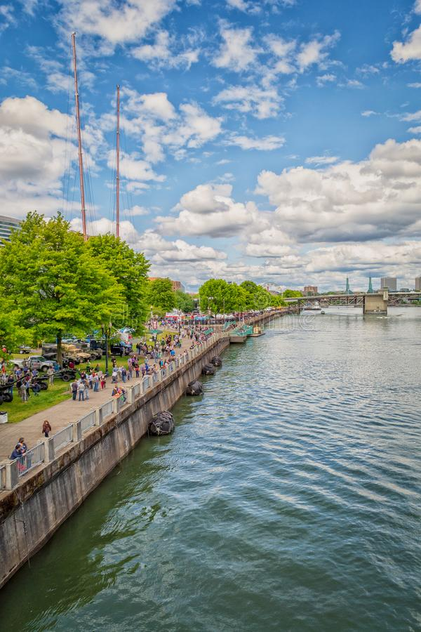 Waterfront park along the Willamette river, Portland, Oregon royalty free stock photos