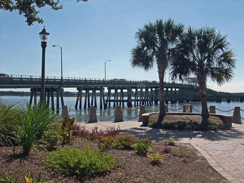 Waterfront Park Beaufort South Carolina. Chambers Waterfront in Beaufort, South Carolina in the low country. Woods Memorial Draw Bridge over the Harbor River in royalty free stock photos
