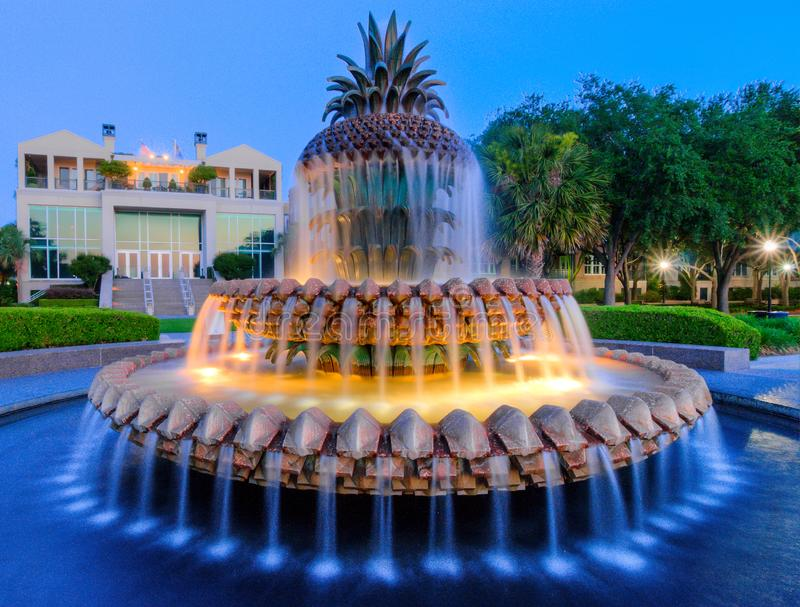 Waterfront Park Pineapple Fountain, Dawn. Charleston, SC. stock photo