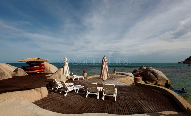 Waterfront Patio royalty free stock photos