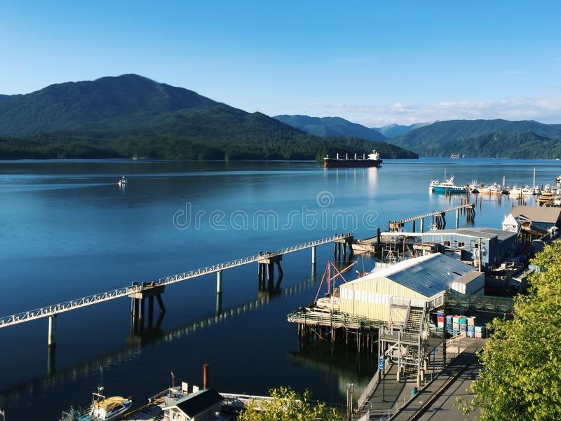 Waterfront of Prince Rupert, British Columbia, Canada. On a sunny summer evening, a view of the waterfront and harbour of Prince Rupert, British Columbia, Canada stock photography