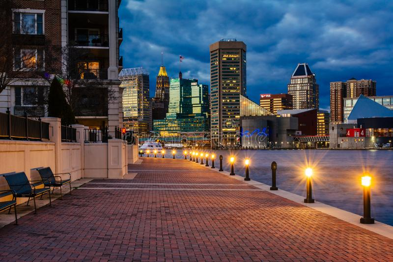 The Waterfront Promenade and Baltimore skyline seen at the Inner Harbor, in Baltimore, Maryland stock photos