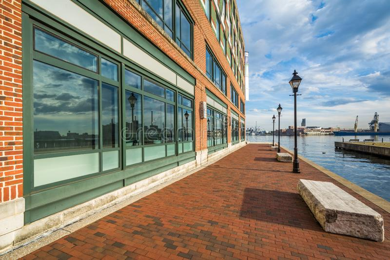 The Waterfront Promenade and building, in Fells Point, Baltimore, Maryland royalty free stock images