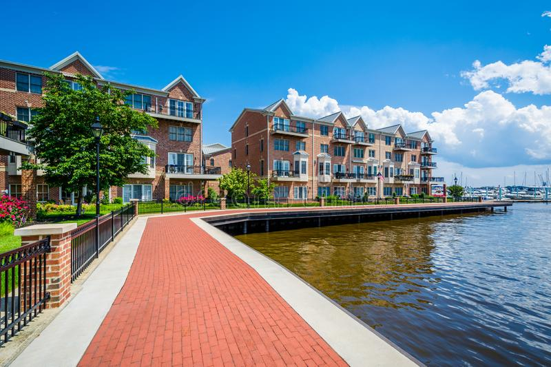 The Waterfront Promenade and condominiums in Canton, Baltimore, Maryland stock photo