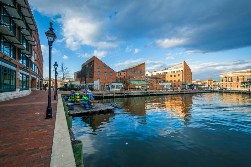 The Waterfront Promenade in Fells Point, Baltimore, Maryland royalty free stock image