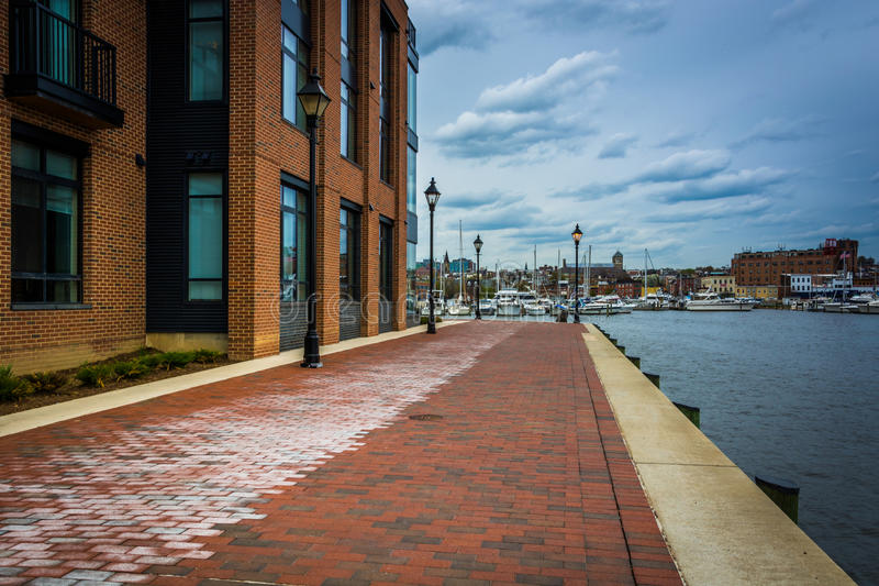 The Waterfront Promenade in Fells Point, Baltimore, Maryland. royalty free stock photography