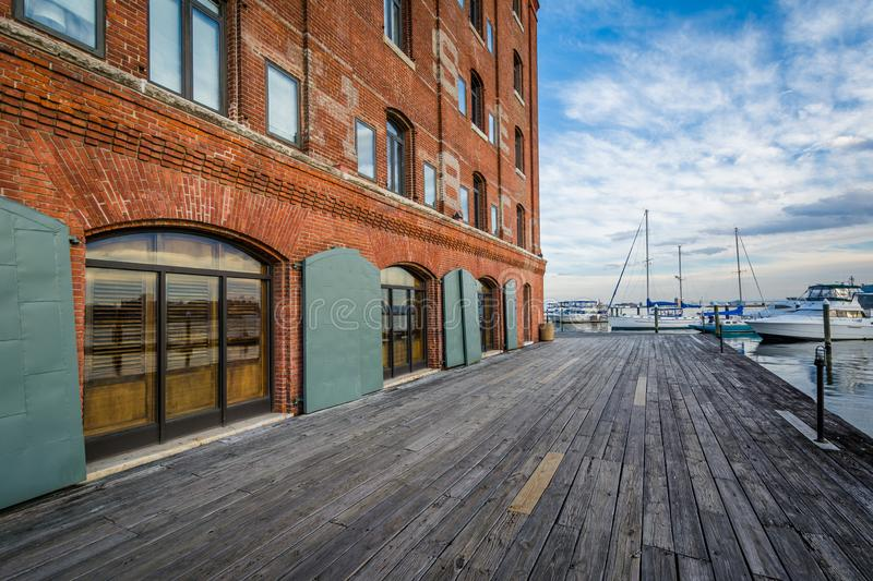 The Waterfront Promenade at Hendersons Wharf, in Fells Point, Baltimore, Maryland royalty free stock photography